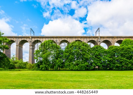 Digswell Viaduct (Welwyn Viaduct) seen from the ground. It is located between Welwyn Garden City and Digswell in the UK