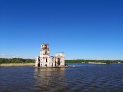 dilapidated church on the rybinsker reservoir