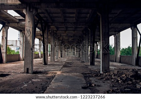 Dilapidated factory floors