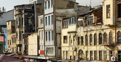 Dilapidated houses in the Karakoy neighborhood. Beyoglu district of Istanbul, Turkey.
