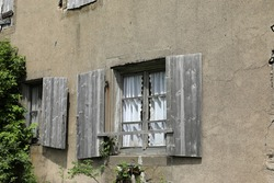 Dilapidated old house ruin that is falling into disrepair