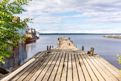 Dilapidated pier in the city of petrozavodsk