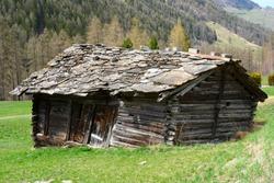 Dilapidated stable in Valais, Switzerland
