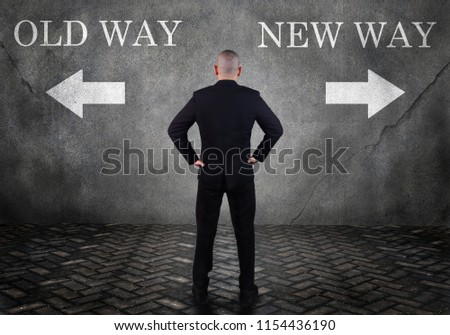 Dilemma in business concept. Businessman confuse to choose old way or new way #1154436190