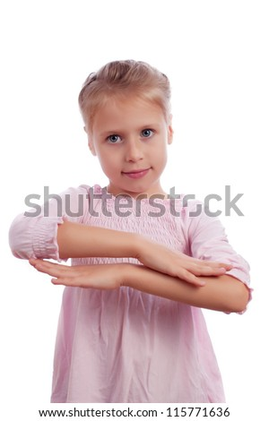Diligent little schoolgirl