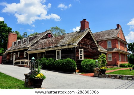 Dilworthtown, Pennsylvania: - June 9, 2015  Wooden kitchen wing and brick colonial-era Dilworthtown Inn has offered lodging and dining to patrons since 1758  *