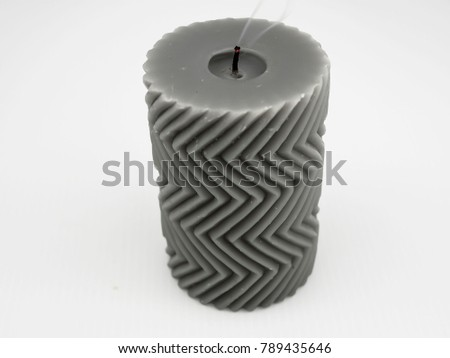 Dim gray candle with small smoke  with zigzag pattern #789435646