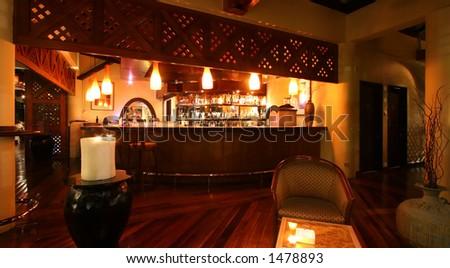 Dim lake-side bar at a Kuala Lumpur resort hotel