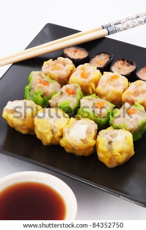 Dim sum, Chinese steamed pork and shrimp dumplings