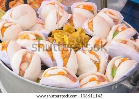 Dim sum, Chinese steamed pork , shrimp dumplings and steamed buns