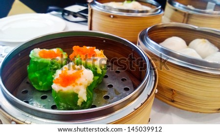Dim Sum dishes on the table