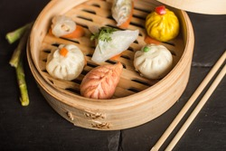 Dim Sum dumplings. Chinese traditional food.