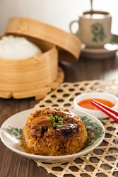 Dim Sum Loh Mai Kai Steamed Glutinous Rice with chicken mushrooms and sausage