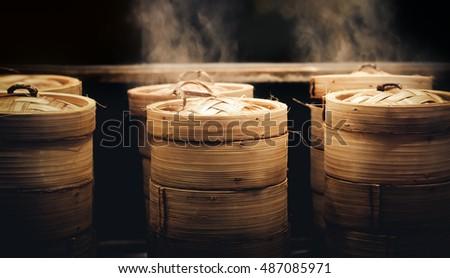 Dim sum steamers at a Chinese restaurant in Bangkok, Thailand
