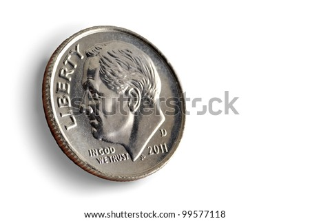 dime on a white background