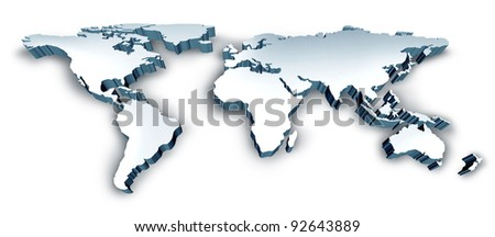 Dimensional 3D Wold Map with USA Europe Africa the Americas and Asia as an international symbol of global communications and intercontinental business as an illustration of an earth model.