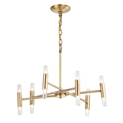 Dimmable 12-Light Sputnik Linear Chandelier Isolated on White. Modern Candle Light Fixture. Golden Metal Rod Hanging Lights. Pendant Sconce Lighting Lamp. Cutting Edge Ceiling Light