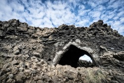 Dimmuborgir, a labyrinth of huge lava monoliths, towers and cavern near lake Myvatn in northern Iceland