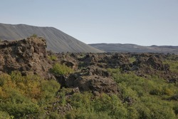 Dimmuborgir - a rock town near the Lake Myvatn in northern Iceland with volcanic caves, lava fields and rock formations.