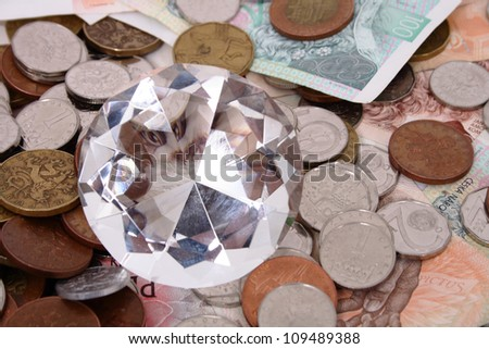 dimond on the money background
