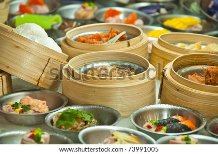 dimsum in bamboo containers traditional cuisine