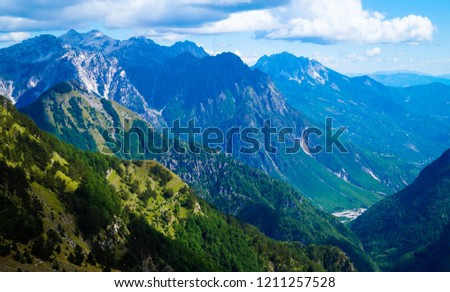 Dinaric alps on the border between Montenegro, Kosovo and Albania. The valley of Valbona on the way to Theth, a famous hiking routein northern Albania.