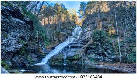 Dingmans Falls is a waterfall located in Dingmans Ferry in Delaware Township, Pike County, Pennsylvania, United States near the Silverthread Falls.