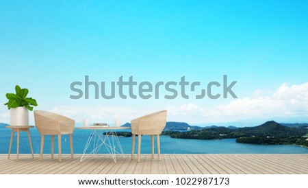 Dining area on terrace with sea view in hotel or restaurant - Dining area on island view and sea view - Simple design artwork for vacation time - 3D Rendering