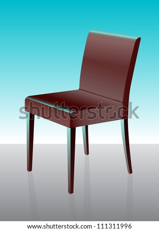 Dining chair with gradient background and reflection on the floor.