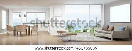 Dining, living room and kitchen in luxury house with white picture frame- 3D rendering