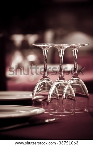 Dining red table ready for customers at restaurant