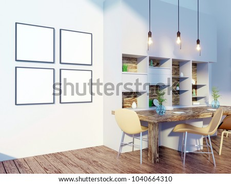 Dining room and kitchen interior wall mock up on white background, 3D rendering, 3D illustration #1040664310