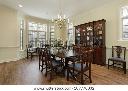 Dining Room on Dining Room In Suburban Home With Cream Colored Walls Stock Photo