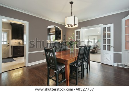 Dining room in suburban home with kitchen view