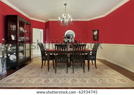 Dining Room on Dining Room In Suburban Home With Red Walls Stock Photo 62934745