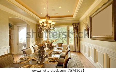 Dining Room Interior In Luxury Home Stock Photo 75763051 ...