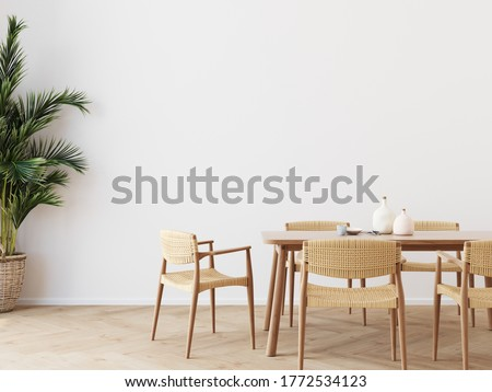 Dining room wall mock up with Areca palm,  dining set, wooden table on wooden floor. 3d illustration. Stock photo ©