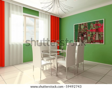 Dining room with a window 3d image