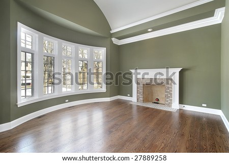 Dining Room With Fireplace And Green Walls Stock Photo 27889258 ...