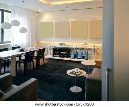 dining room with living room