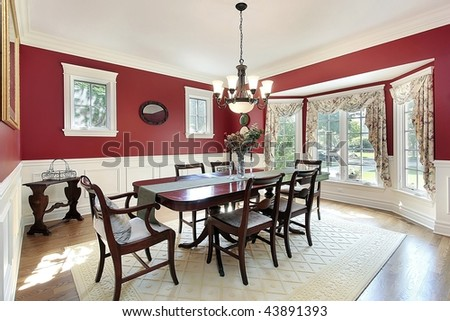 Dining Room With Red Walls Stock Photo 43891393 Shutterstock