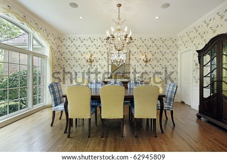 Dining room with yellow and blue plaid chairs stock photo - Yellow and blue dining room ...
