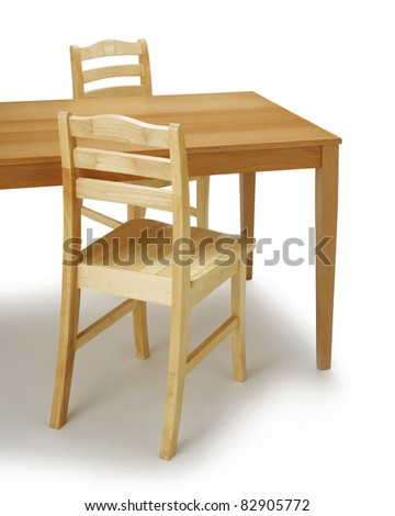 Dining table and chair on white background.