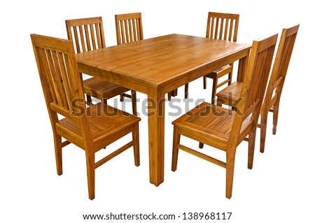 Dining table and chairs isolated on white background #138968117