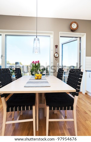 dining-table by the window, interior design of a kitchen