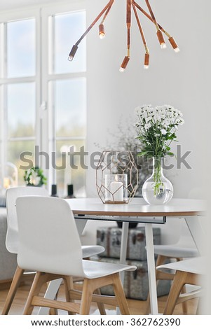 Dining table in clean, modern interior