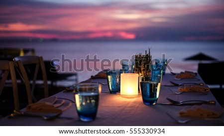 dining table in the sunset moment