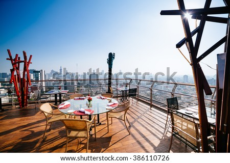 Dining table on rooftop #386110726