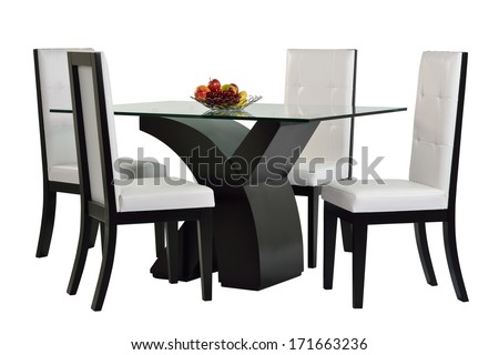 Dining table set. Isolated #171663236