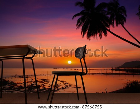 dining table sunset on the beach